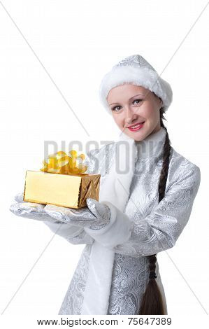 Cute Snow Maiden posing with gift box