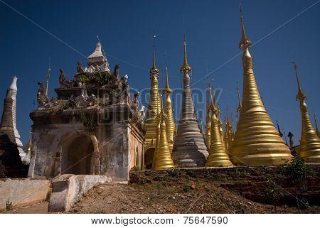 Group Of Golden Pagodas Of Shwe Inn Taing Paya Near Inle Lake, Myanmar.