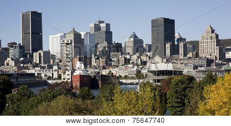 Montreal, Quebec, Canada, skyline on a beautiful Fall day