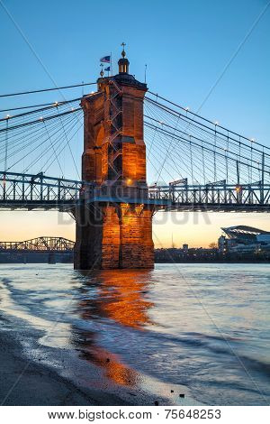 John A. Roebling Suspension Bridge In Cincinnati
