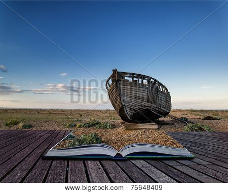 Abandoned Fishing Boat On Beach Landscape At Sunset Conceptual Book Image