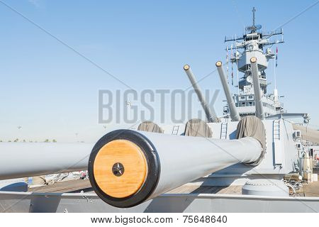 Mounted Artillery On Board Battleship Uss Iowa