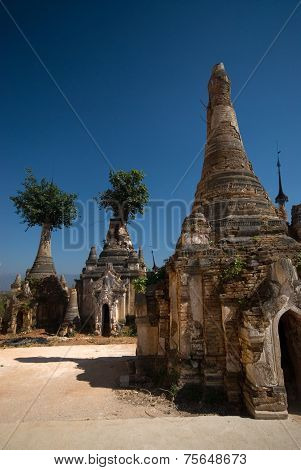 Scenic View Of Buddhist Pagodas,Inle Lake,Myanmar.