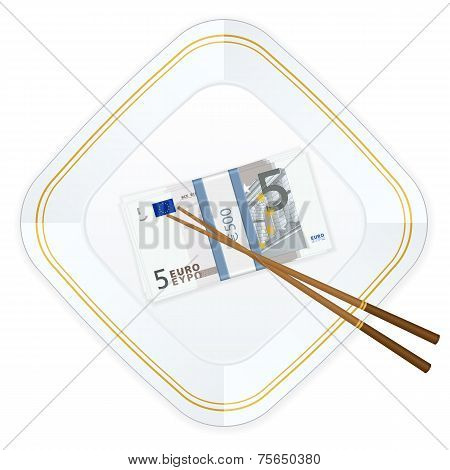Plate Chopsticks And Five Euro Pack