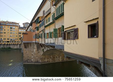 Close up on the Ponte Vecchio bridge across Arno.