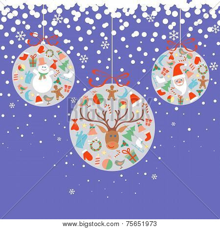 New Year And Christmas Balls With Decorations Objects