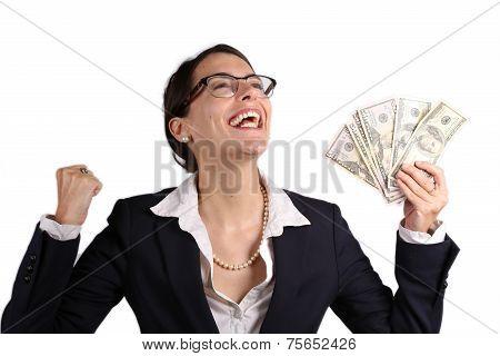 Businesswoman Holding Earnings