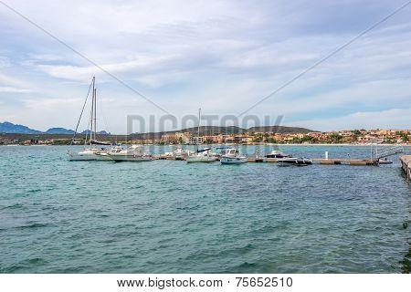 Small Quayside Of Golfo Aranci In Sardinia