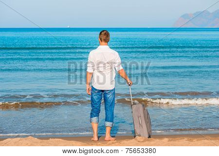 Lost On A Desert Island Man Looks At The Leaving Ships
