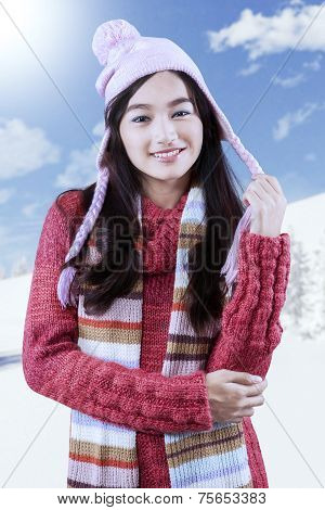 Teenage Girl With Knitted Clothes