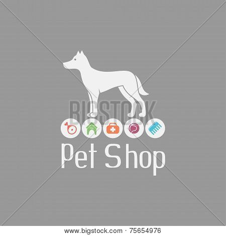 Pet shop logo with doggy sign and what dog needs