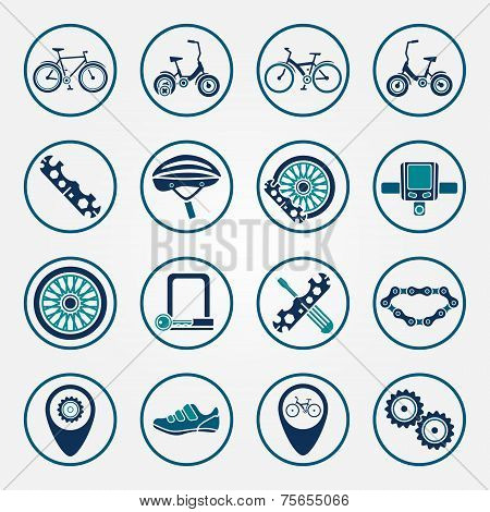 Vector biking icon set