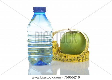Bottled Water, Apple And Measuring Tape