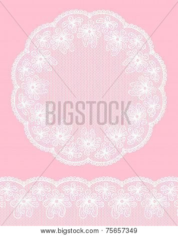 Round Lacy Frame On Pink Background With Lacy Bottom Border.