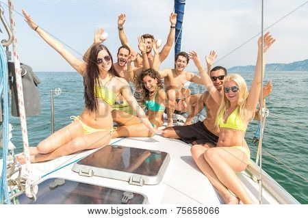 Friends On Boat Having Party