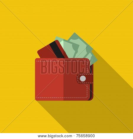 Flat wallet with card and cash with long shadow