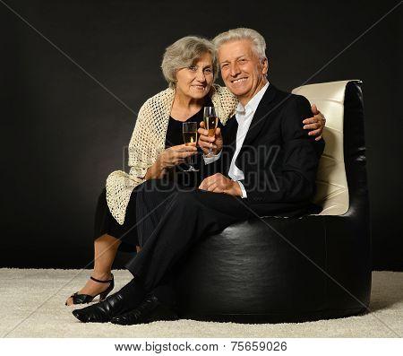 Senior couple drinking