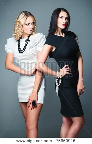 Studio Fashion Shot: Two Beautiful Women (blonde And Brunette) Wearing Dresses