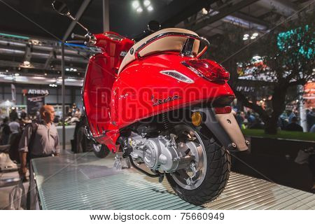 Vespa Scooter On Display At Eicma 2014 In Milan, Italy