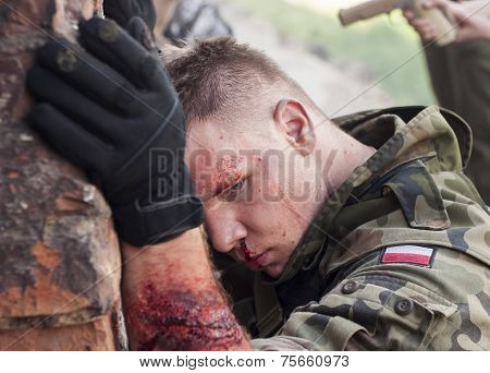 Wounded Soldier During Historical Reenactment