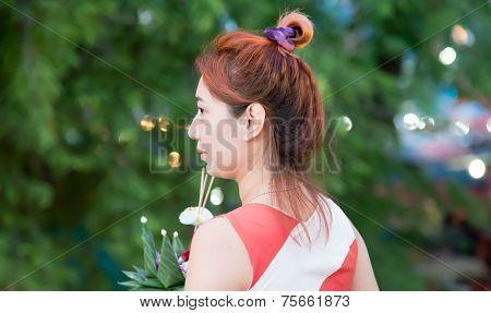 Woman Hold Krathong ,flora Basket, In Loi Krathong Day
