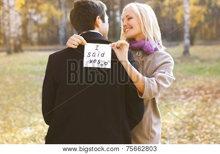 Love, Relationships, Engagement And Wedding Concept - Man Proposing Ring Woman Outdoors, Happy Roman