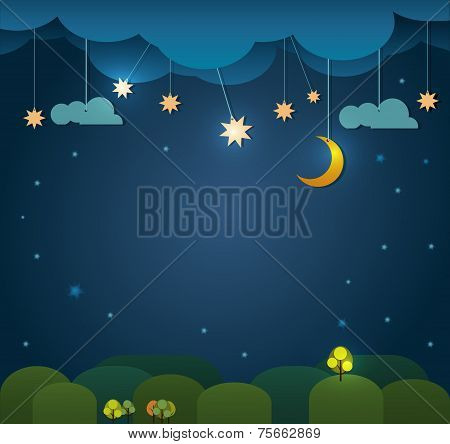 Abstract paper cut.Moon with stars,cloud sky at night background.Blank space for your design