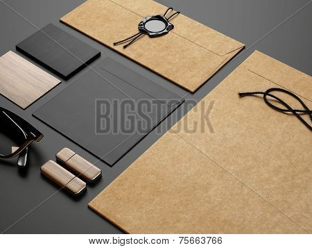 Branding Elements On Black Paper Background