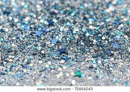 Blue and Silver Frozen Snow Winter Glitter background. Holiday, Christmas, New Year abstract texture