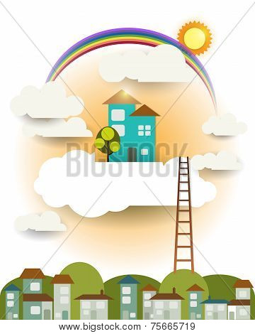 Abstract Paper cut,fantasy Home Sweet Home,sun With Rainbow