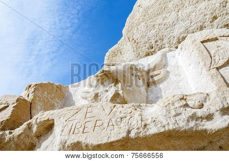 From stone chiseled Bull at Red Beach near Matala