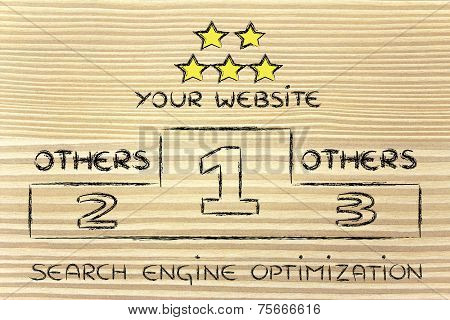 Seo, Search Engine Optimization Podium Illustration
