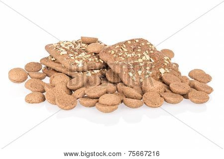 Heap Of Ginger Nuts With Speculaas Isolated Over White