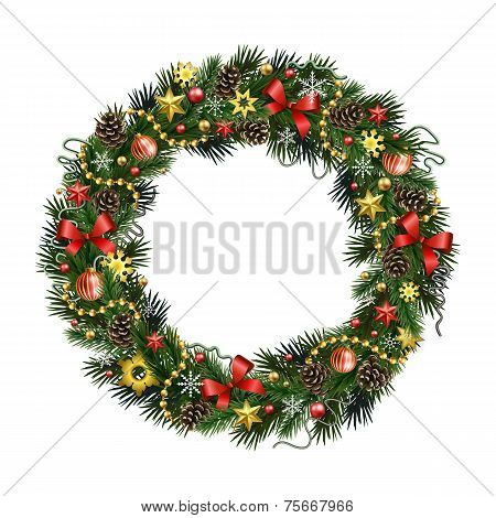 Realistic Christmas Wreath Isolated ?? White Background
