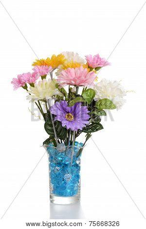faux flower arrangement in vase
