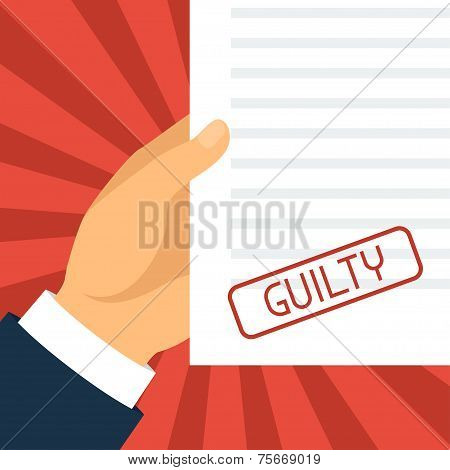 Guilty concept hand holding paper with stamp.