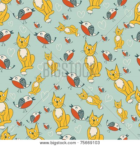 Seamless pattern with romantic kitty and birds