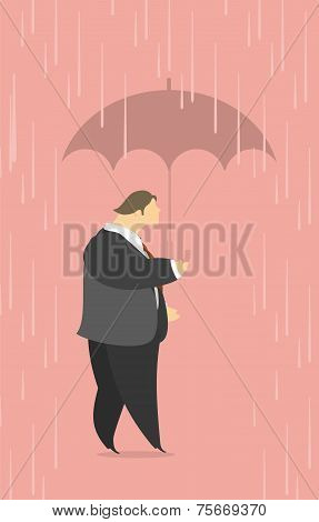 man under an umbrella in the rain