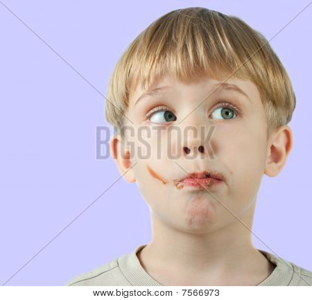 Cute Boy With Chocolate Face