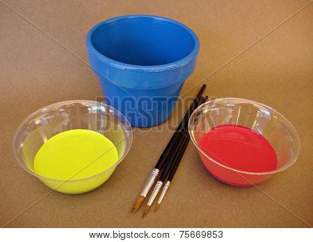 Blue pot and paint