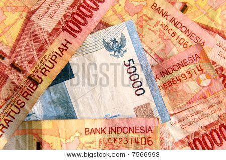 Indonesian Rupiah Close Up.