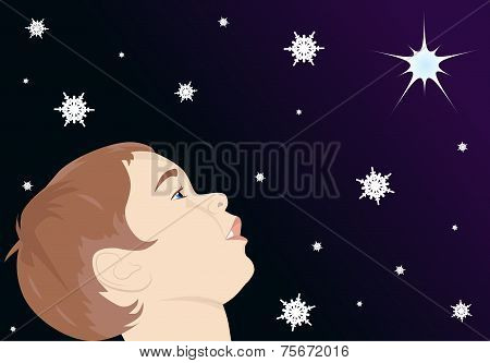 Child Looking At The Star