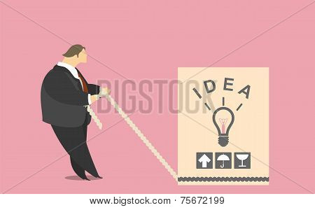Businessman pulling a box of ideas