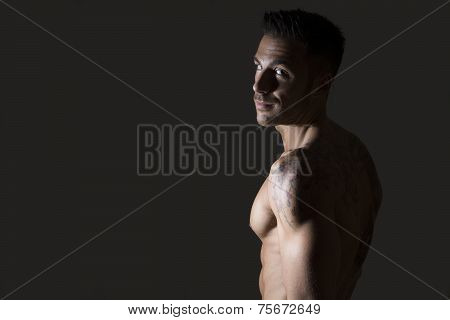 Handsome Shirtless Muscular Man's Profile