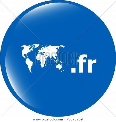 Domain Fr Sign Icon. Top-level Internet Domain Symbol With World Map