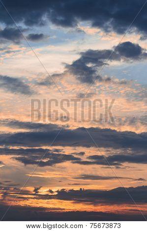 Sky Vivid Colors Landscape With Clouds