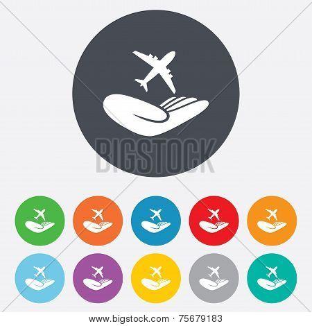 Flight insurance sign. Hand holds plane.
