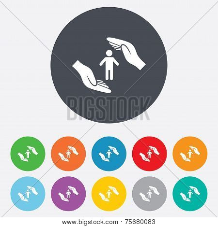 Human life insurance sign icon. Hands protect.