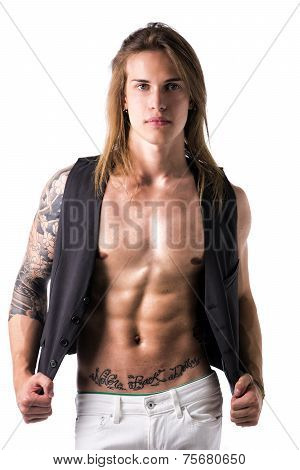 Beautiful Young Long Haired Man In Jacket On Naked Torso