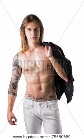 Beautiful Young Long Haired Man Holding Jacket Over Shoulder